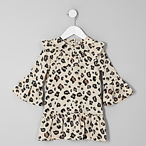 Mini girls brown leopard print swing dress