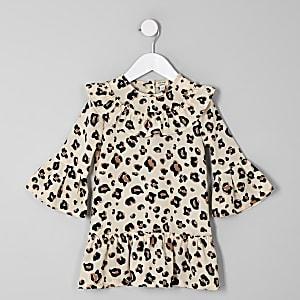 Robe trapèze à imprimé léopard marron pour mini fille
