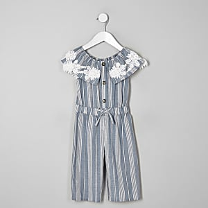 Blauer Bardot-Overall mit Streifen