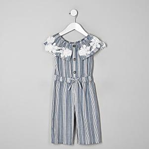 Combinaison Bardot rayée bleue mini fille