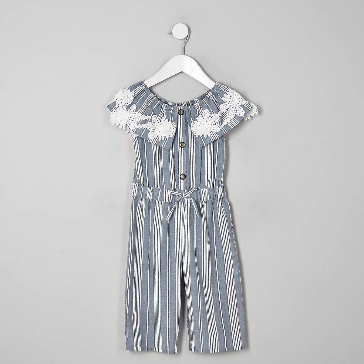 Mini girls blue stripe bardot jumpsuit