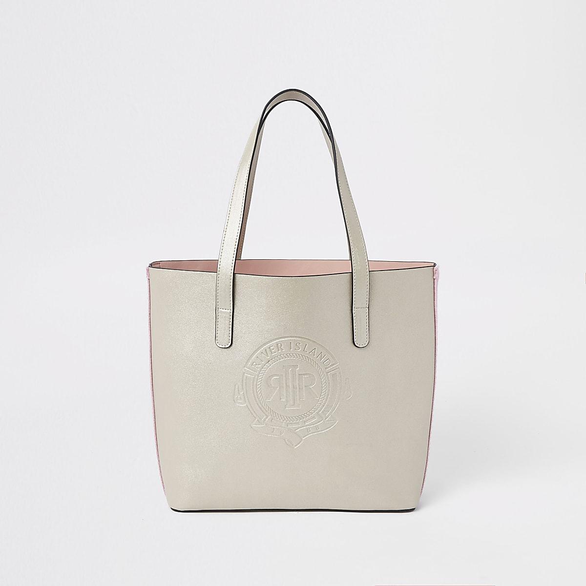 Girls gold RI logo tote bag