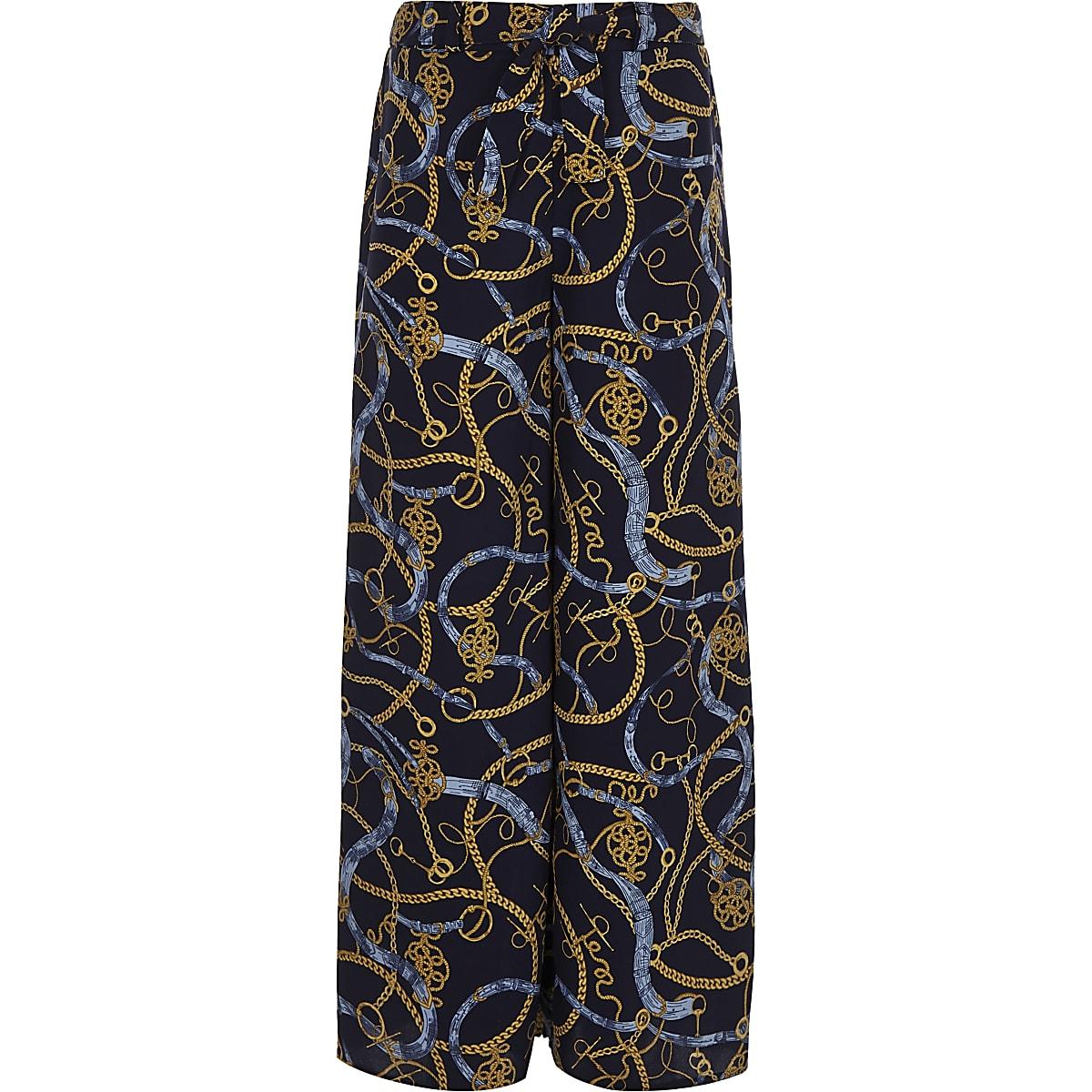 Girls chain print wide leg palazzo trousers