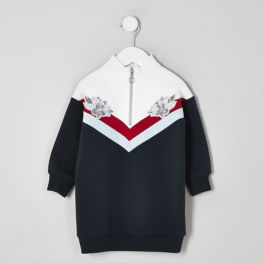 Mini girls navy chevron zip jumper dress