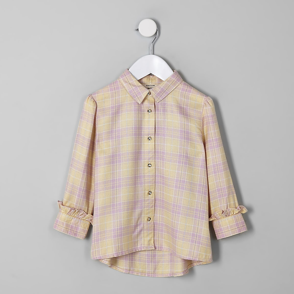 Mini girls yellow check shirt