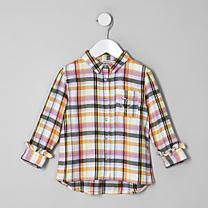 Mini girls pink check shirt