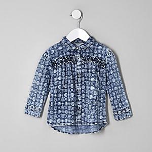 Mini girls blue RI monogram denim shirt