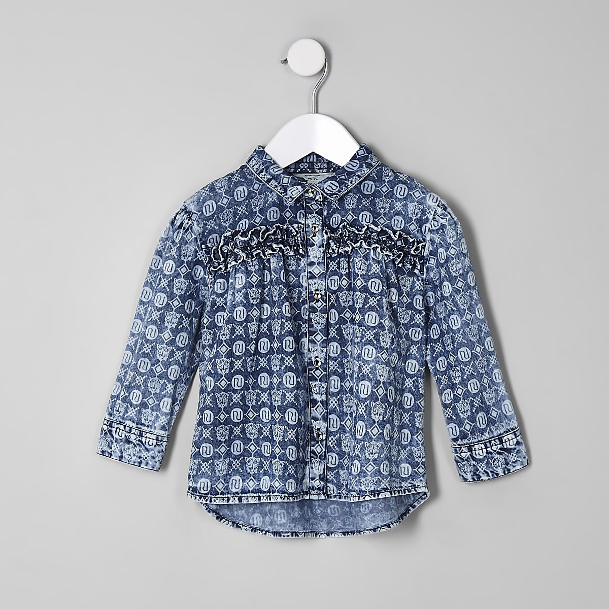 Mini girls blue RI monogram denim shirt