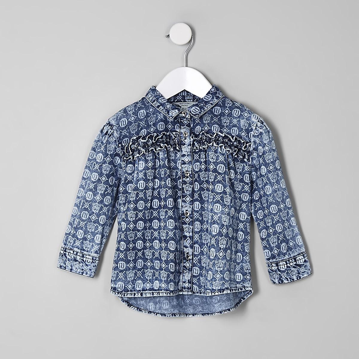 Mini - Blauw overhemd met RI-monogram voor meisjes