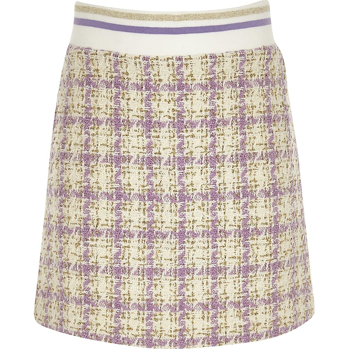 Girls purple boucle skirt