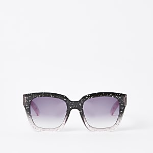 Schwarze, glitzernde Oversized Sonnenbrille