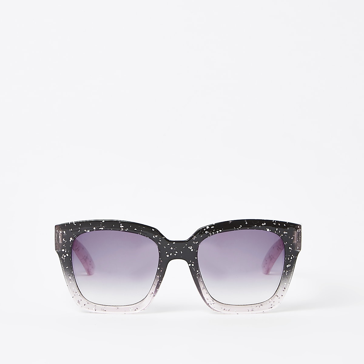Girls black glitter oversize sunglasses