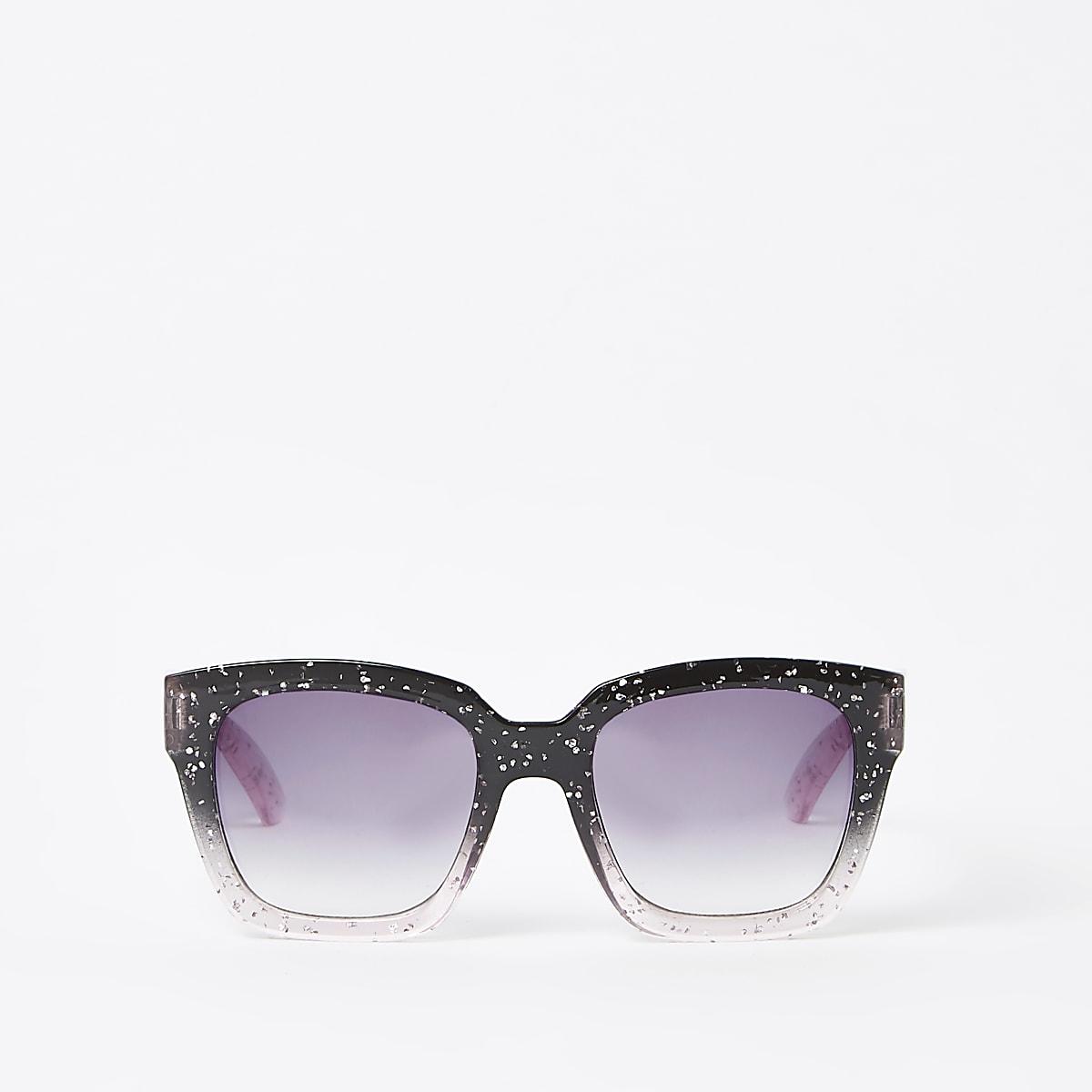 Girls black glitter oversize sunglasses