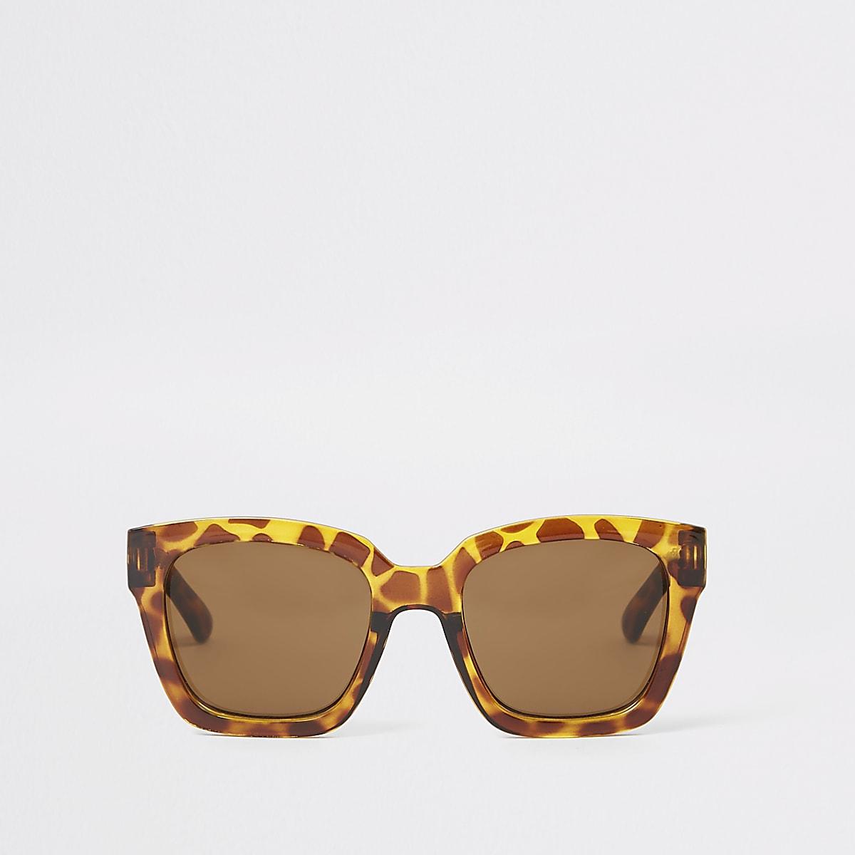 Bruine tortoise oversized zonnebril voor meisjes