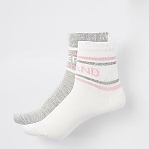 Girls white and grey RI socks multipack