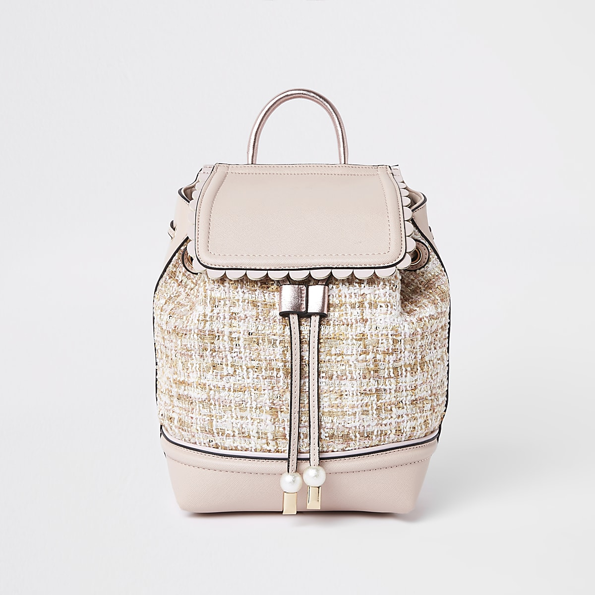 Girls pink boucle backpack
