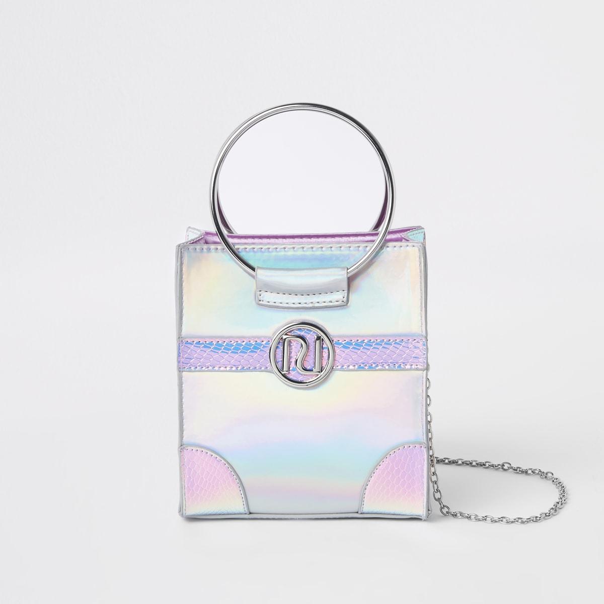 Girls silver holographic boxy cross body bag