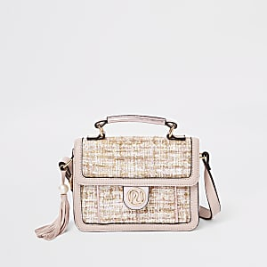 Girls pink boucle satchel cross body bag