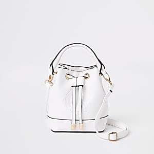Girls white RI bucket bag