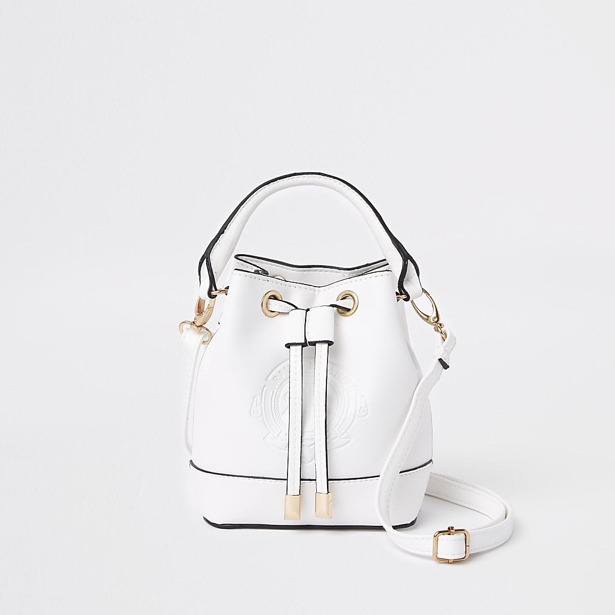 Girls white RI bucket bag