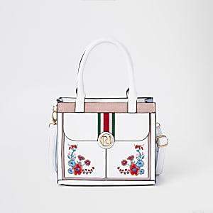 Witte geborduurde tas met bloemenprint voor meisjes