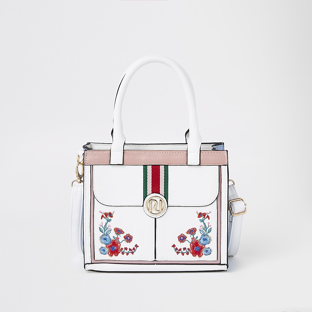 Girls white embroidered floral boxy bag