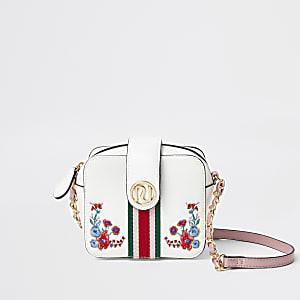 Witte crossbodytas met bloemenprint voor meisjes