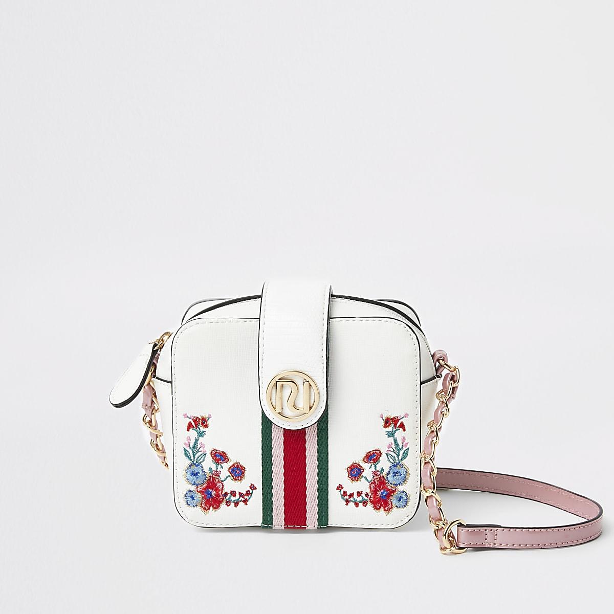 Girls white floral cross body bag