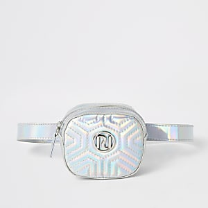 Zilverkleurig gewatteerd holografisch heuptasje met RI-logo voor meisjes