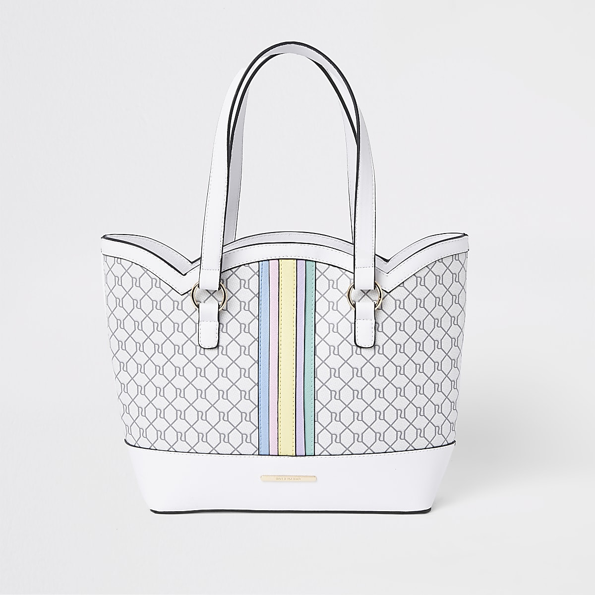 Girls white rainbow scallop shopper bag