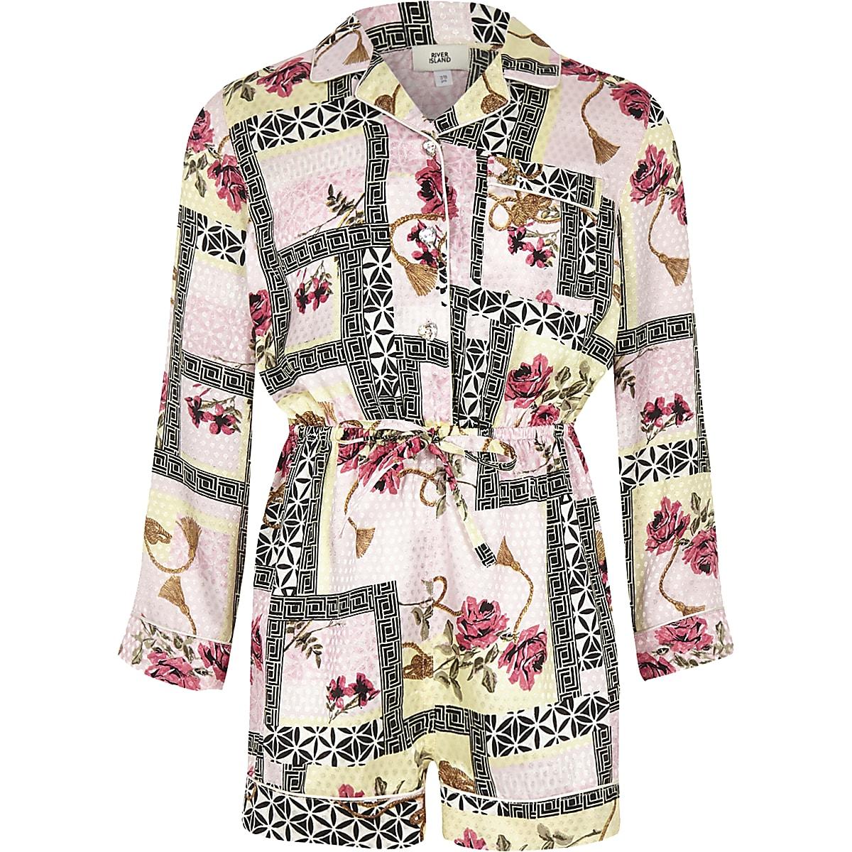Girls pink baroque print romper