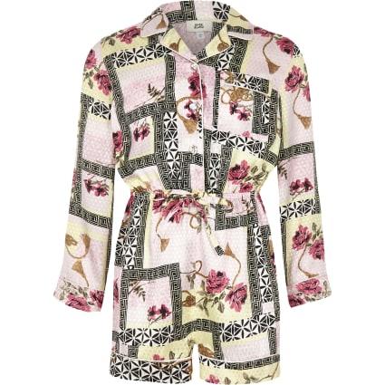 Girls pink baroque print playsuit