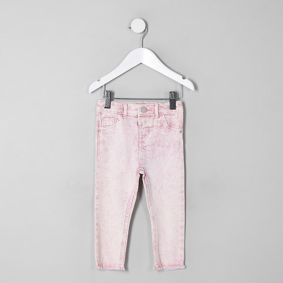 Mini girls pink acid wash Molly jeggings