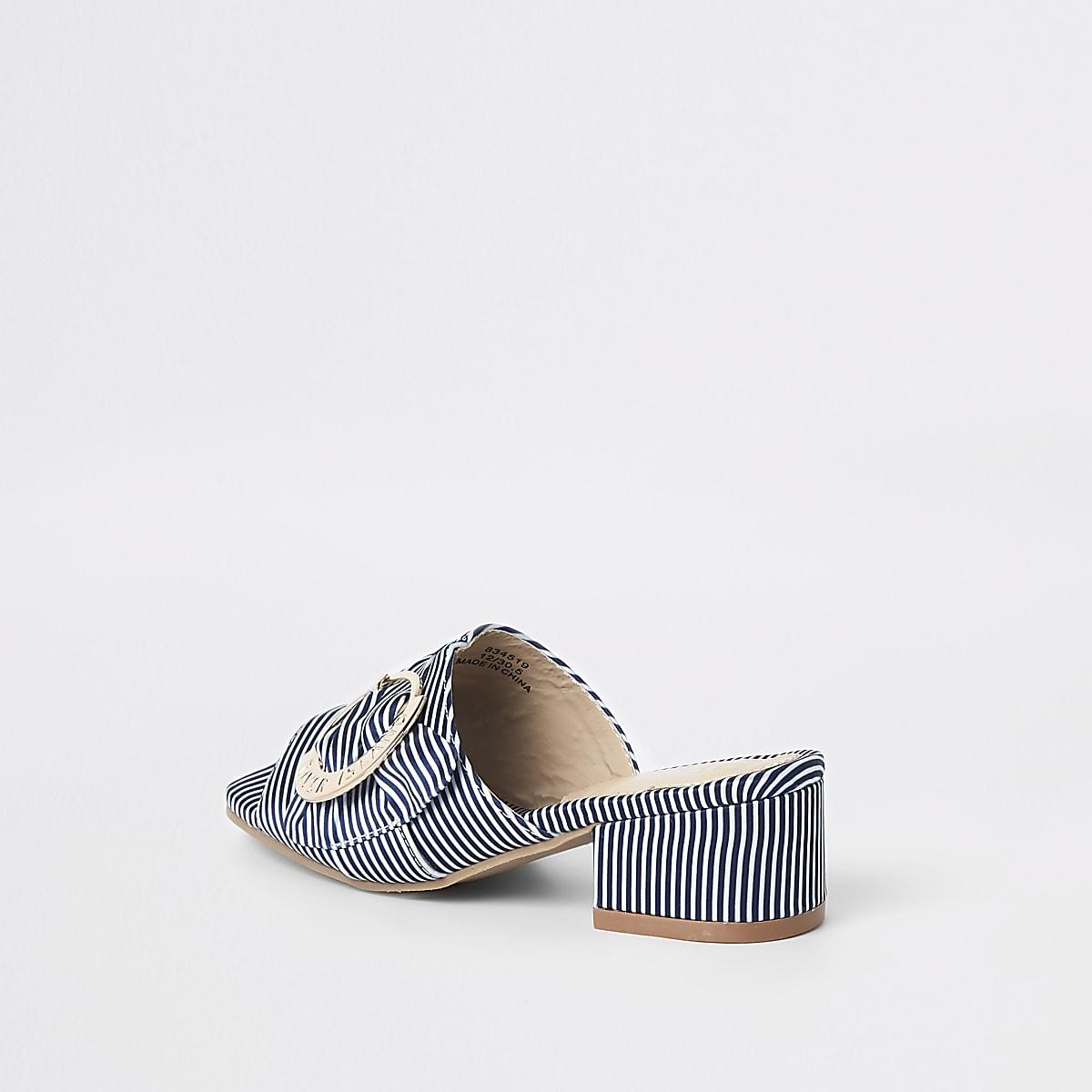 84bd3a4857 Girls navy buckle heel mule sandals - Shoes - Footwear - girls