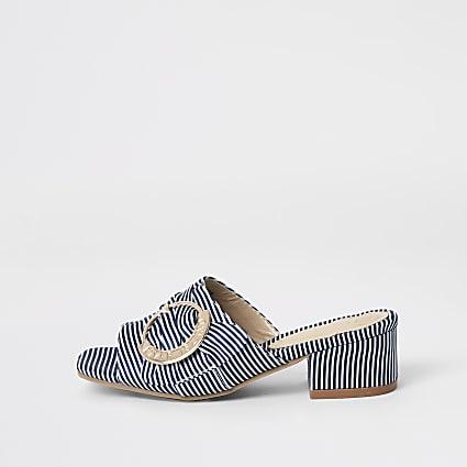 Girls navy buckle heel mule sandals