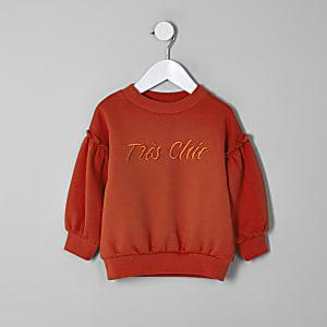 Rotes Sweatshirt mit Ballonärmeln