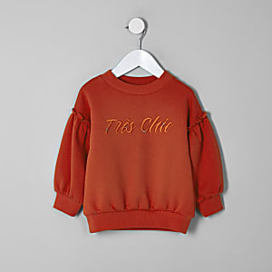 Mini girls red balloon sleeve sweatshirt
