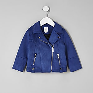Mini girls blue faux suede biker jacket
