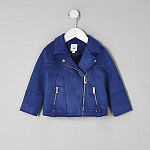 Perfecto en suédine bleu pour mini fille