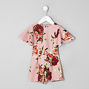 Mini girls pink floral frill romper