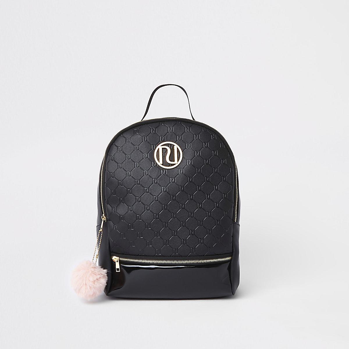 Girls black RI monogram backpack