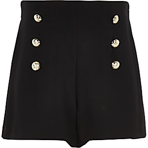 Girls black button detail shorts