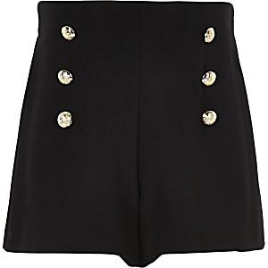 Zwarte short met knoopdetail voor meisjes