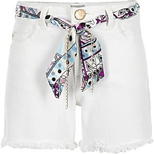 Short en denim blanc à ceinture foulard pour fille