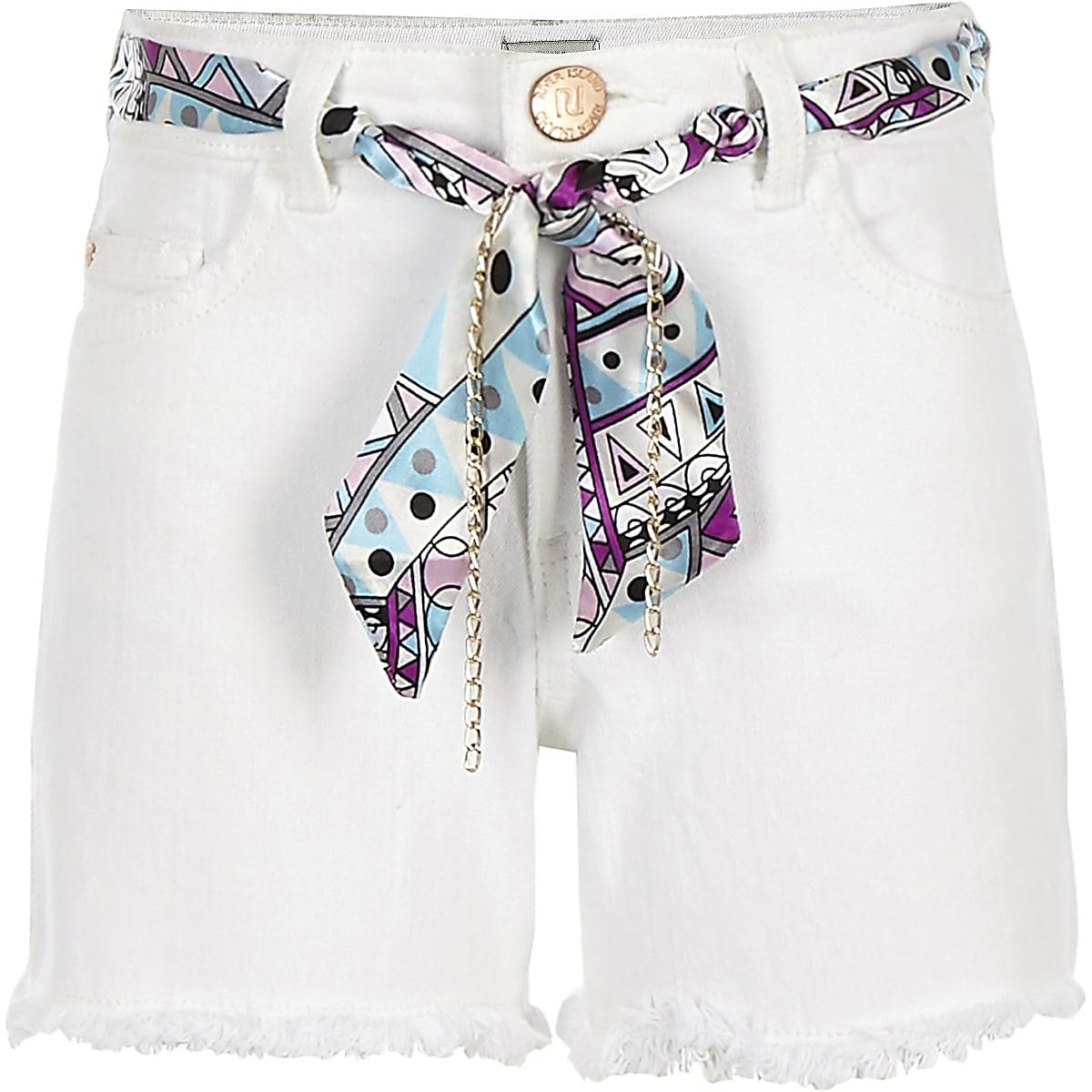 Girls white scarf belted denim shorts