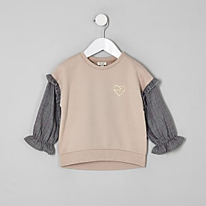 Mini girls beige check sleeve sweatshirt