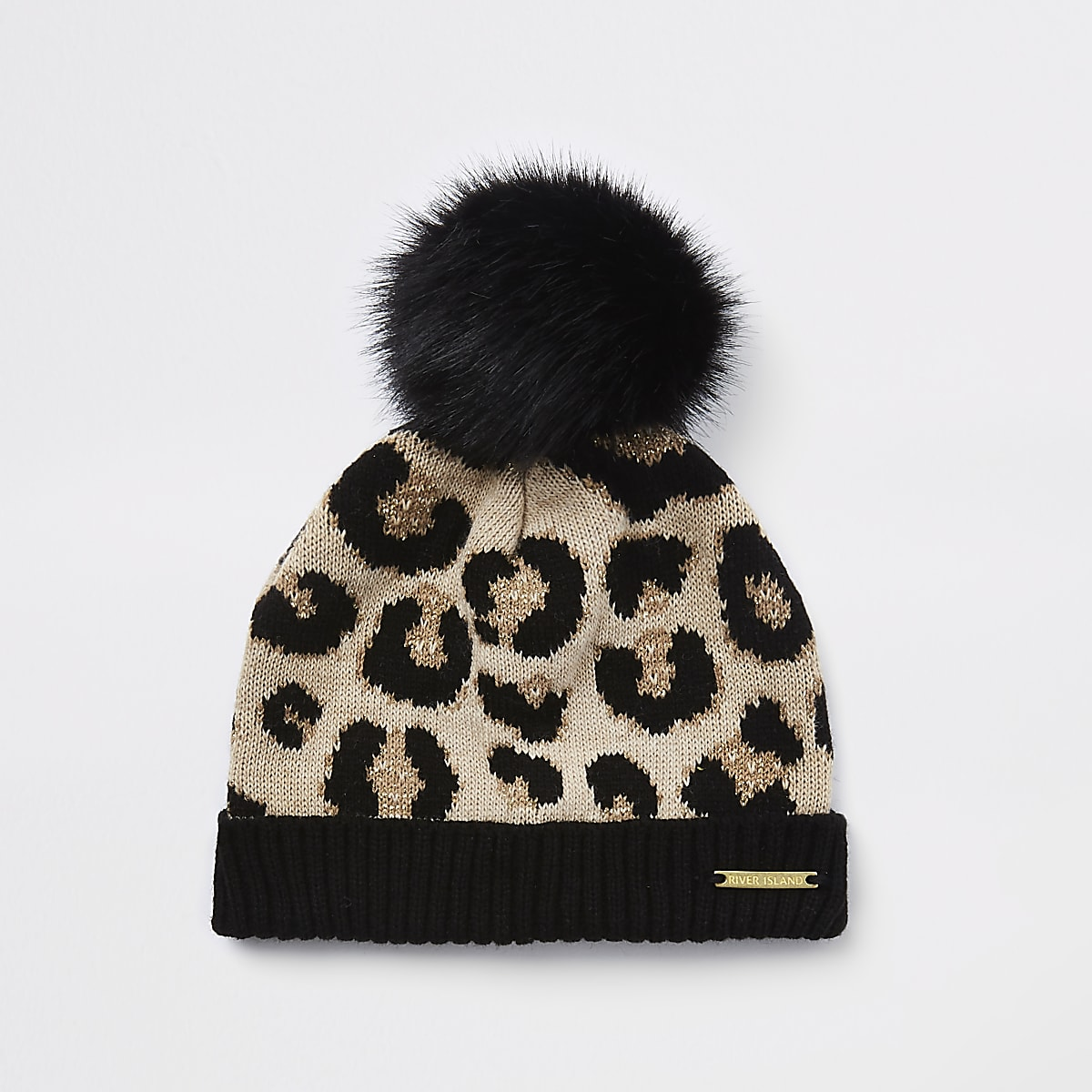 a4c64c7f Mini girls brown leopard print beanie hat