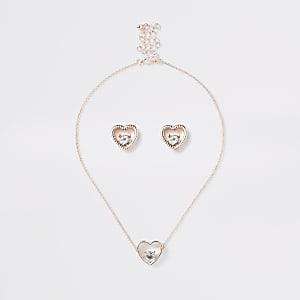 Parure boucles d'oreilles et colliers dorés motif cœur pour fille