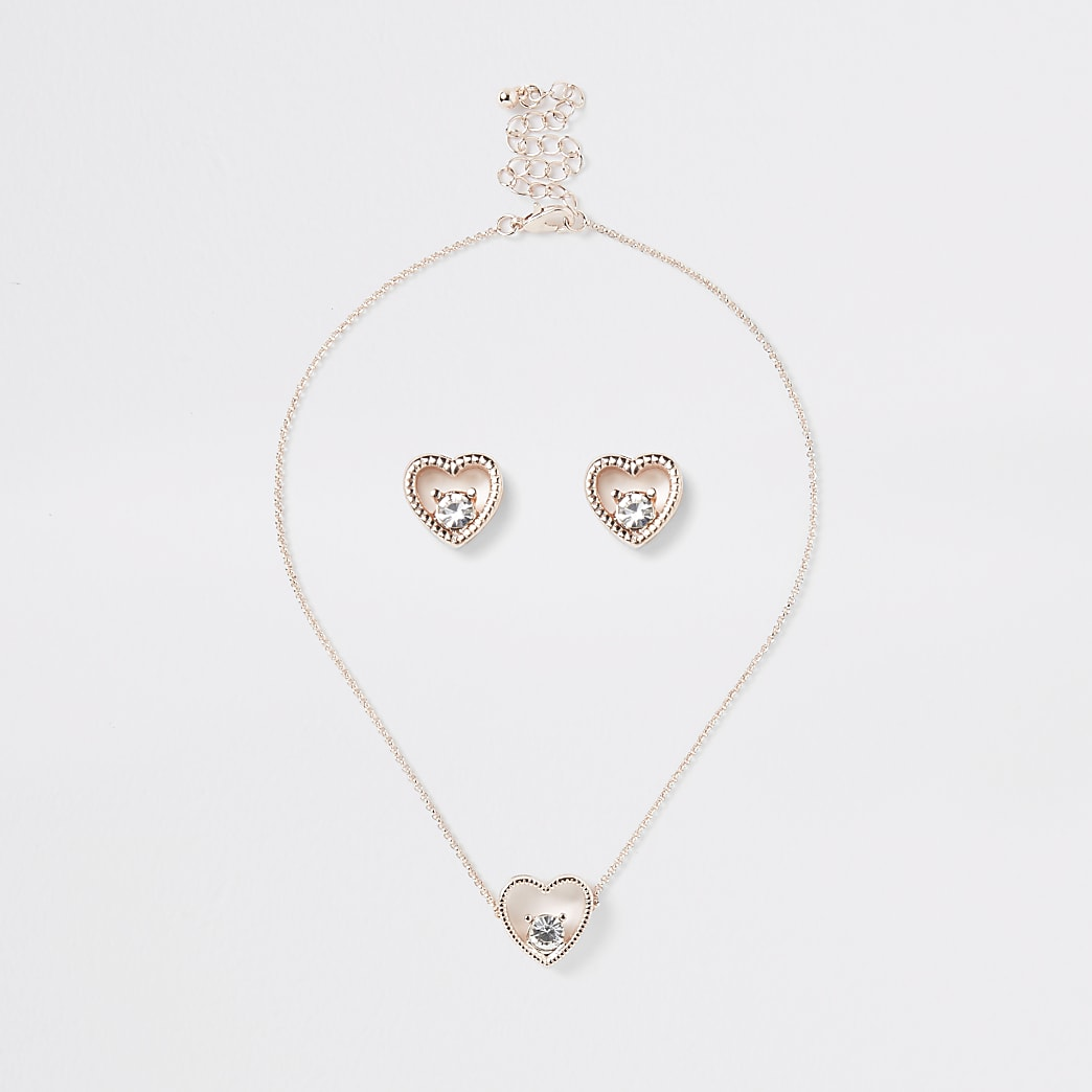 Girls gold heart necklace and earring set