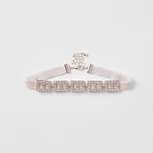 Girls pink square rhinestone choker